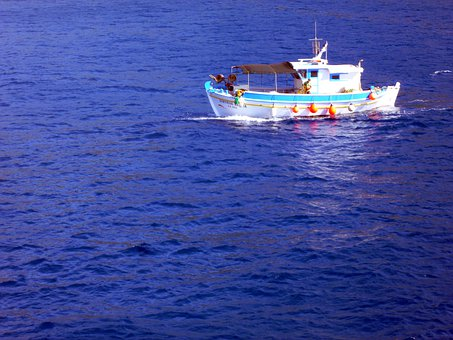 Fishing Boat, Sea, Fishing, Waters, Blue, Fisherman