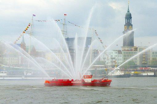 Ship, Fire, Loeschbot, Hamburg, Port, Elbe