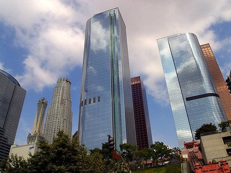 Los Angelos, Skyline, City, Skyscrapers, Mirror, Window