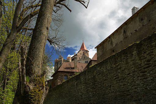 Castle, Moravia, Pernštejn, Spring