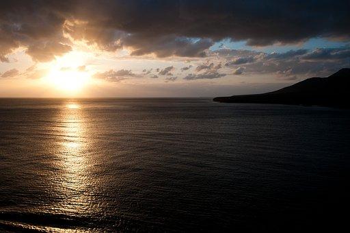 Fuerteventura, Sea, Water, Sun, Sunset, Sky, Clouds