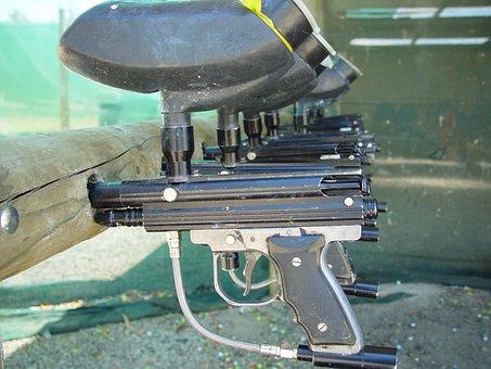 Guns, Paintball, Racked, Leisure, Sport, Equipment
