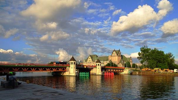 Poland, Stettin, Bridge, Sky, Clouds, Architecture
