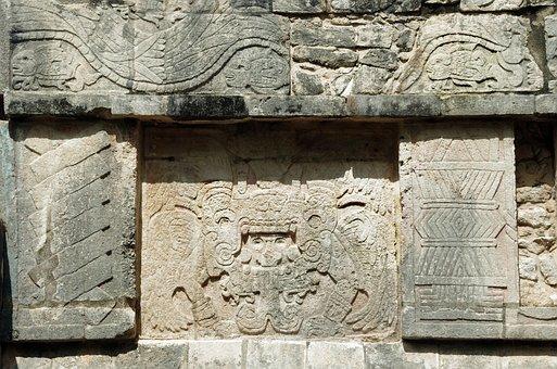Chichen Itza, Yucatan, Maya, Warrior, Wall, Decoration