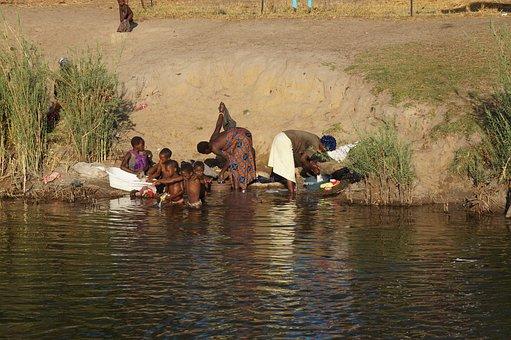 Africa, Kwando, Family, Wash, Laundry Day
