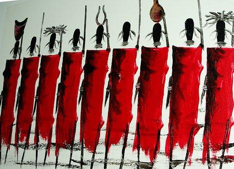 Maasai, Africa, Warriors, Painting