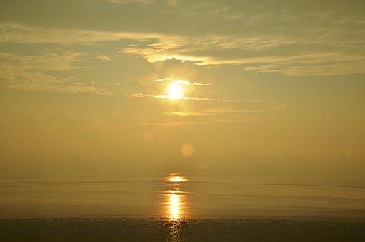 Sun, Sunset, Baltic Sea, Rügen, Hazy, Foggy