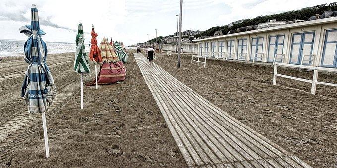 Trouville, Beach, Sea, France, Normandy, Deauville