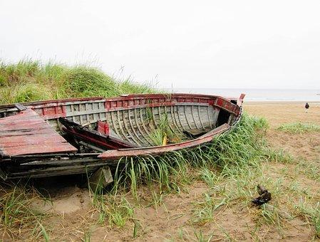 Natashquan, Quebec, Canada, Ocean, Boat, Aground, Beach