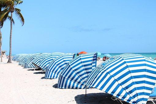 Cabana, Blue, White, Beach, Pattern, Summer