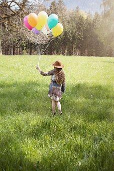 Person, Human, Female, Girl, Long Hair, Hat, Balloons