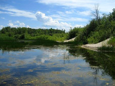 Grand Beach, Lagoon, Lake Winnipeg, Reflection, Clouds
