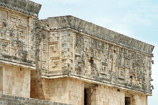 Mexico, Uxmal, Decoration, Maya Style Puuk, Ruins