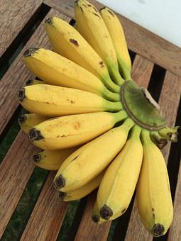 Bananas, Yellow, Ripe, Fruit, Mini-banana, Thailand