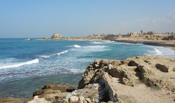 Caesarea, Israel, Port, Roman, Ocean, Sea, Beach