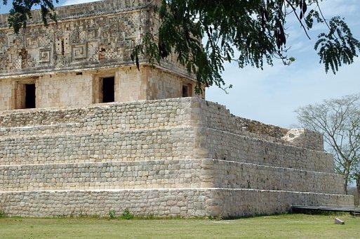 Mexico, Yucatan, Uxmal, Maya, Ruins, Pyramid, Temple