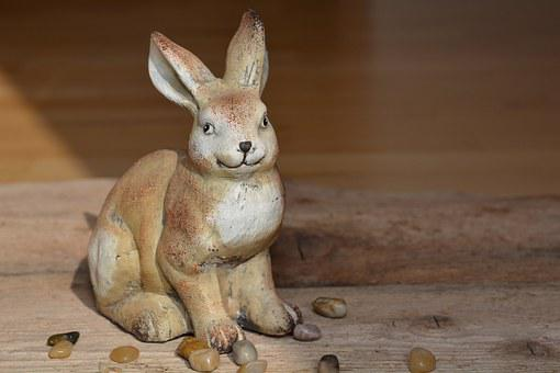 Hare, Dekohase, Wood, Stones, Decoration, Close