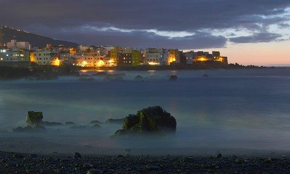 Tenerife, Punta Brava, Sunset, Sea, Clouds, Homes