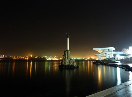 Sevastopol, Monument, The Scuttled Ships, Harbor, Night