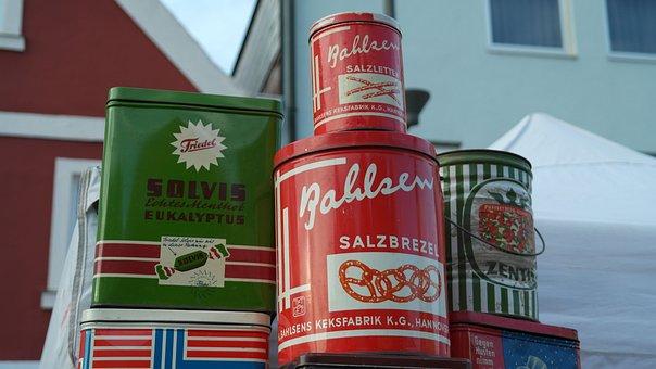 Cans, Bahlsen, Tin Cans, Metal, Metal Cans, Antique