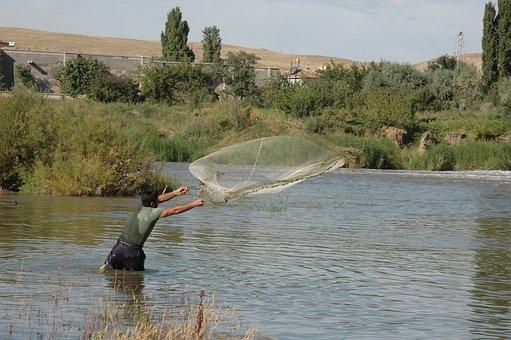 Fisherman, Cast Net, Fishing, Fishing Net, Waters, Lake