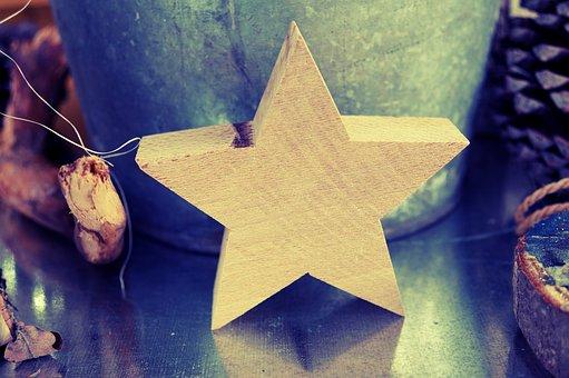 Poinsettia, Star, Wood Star, Christmas