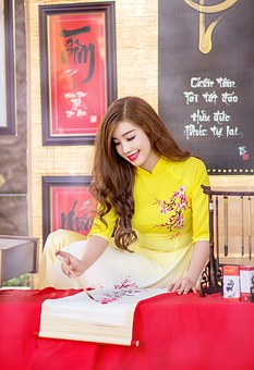 Ao Dai, People Of Vietnam, The Young Woman, Portraint