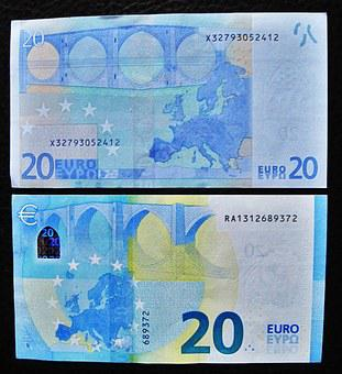 New And Old Twenties, 20 Euro, Back, Bank Note, 20