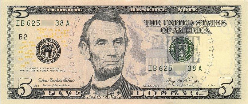 Dollar, Banknote, Abraham Lincoln
