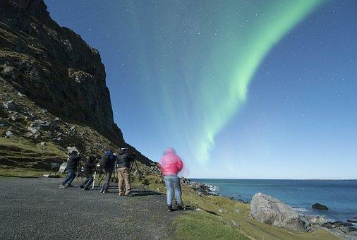 Aurora Borealis, Lofoten, Norway, Night, Beach, Costa