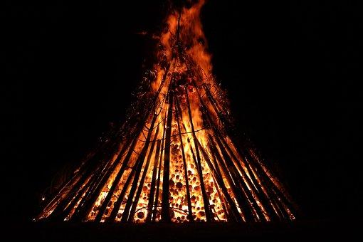 Midsummer, Fire, Burn, Blaze, Flame, Red, Yellow, Dark