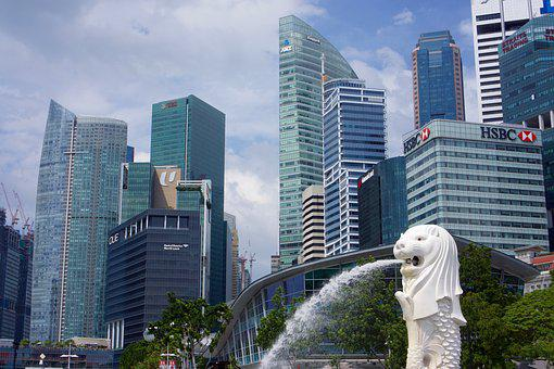 Singapore, City, Fountain, Architecture, Asia, Business