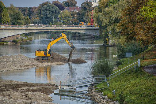 Excavators, Danube, Bank, Water, River, Ulm, Autumn