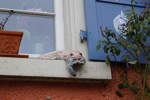 Cat, Window, Fig, Statue, Home, Sculpture, Pot, Sound