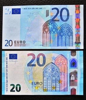 New And Old Twenties, 20 Euro, Front Side, Bank Note
