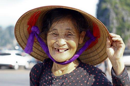 Woman, No Teeth, Vietnamese, People, Old, Elderly, Hat