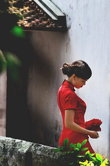 Vietnam, Vietnamese, Girl, Young, Lady, Red, People