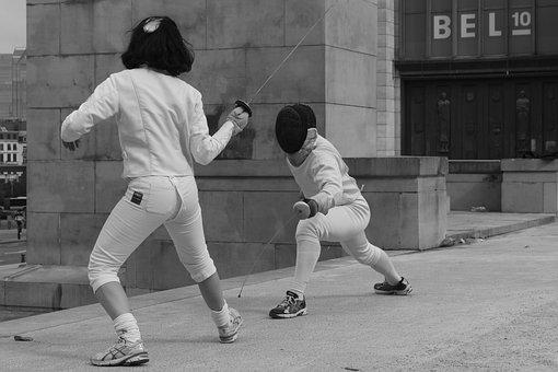 Fencing, Sports, Sword, Clothing, Martial Arts, Mask