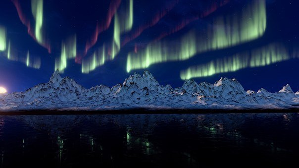 Northern Lights, Mountains, Aurora Borealis