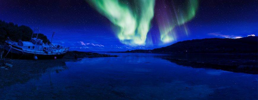 Scotland, Aurora, Isle Of Mull, Beach, Shore, Night