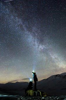 Galaxy, Northen Lights, Auroras, Arctic, Snow