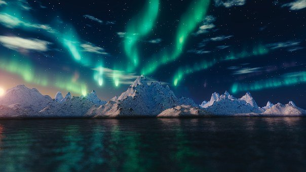 Northern Lights, Aurora Borealis, Blender, Nature