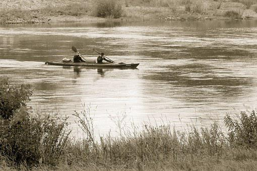 River, Paddler, Bank, Canoeing, Paddle, Black And White