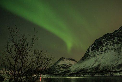 Norway, Lapland, Aurora Borealis, Star, Polar Night
