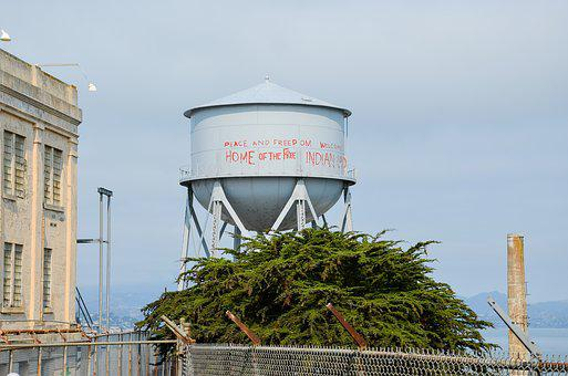 Alcatraz, Usa, America, California, Water Tower, Prison