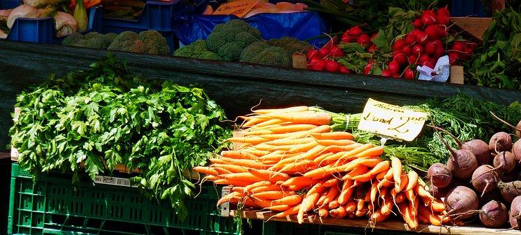 Vegetables, Carrots, Salad, Radishes, Market, Fresh