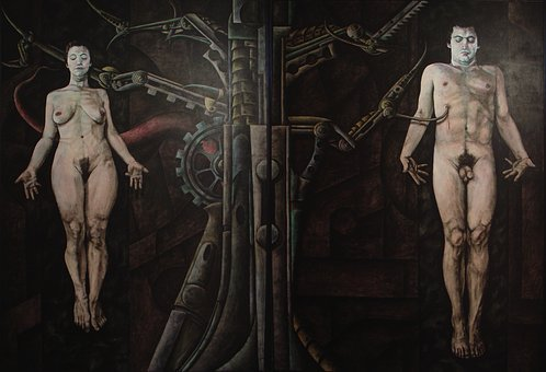 Adam And Eve, Religion, Painting, Woman, Man, Machine