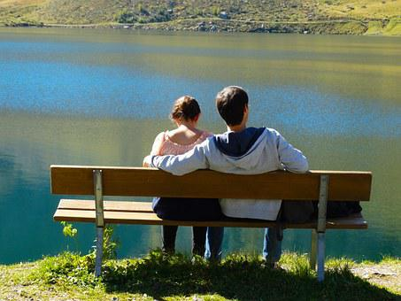 Bench, At The Lake, Bergsee, Rest, Together