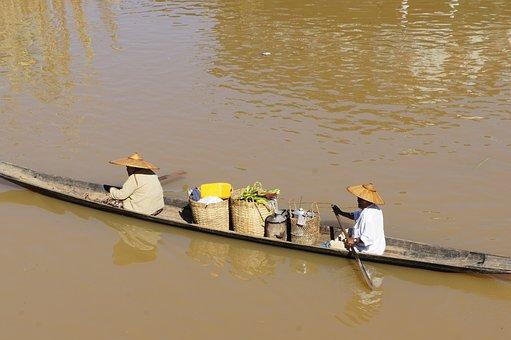 Vietnam, Asia, River, Boat, Vietnamese, Rowing