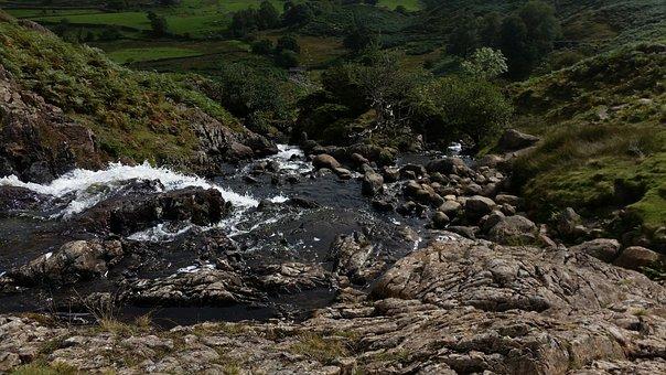 Lake District, Rocks, River, Water, Waterfall